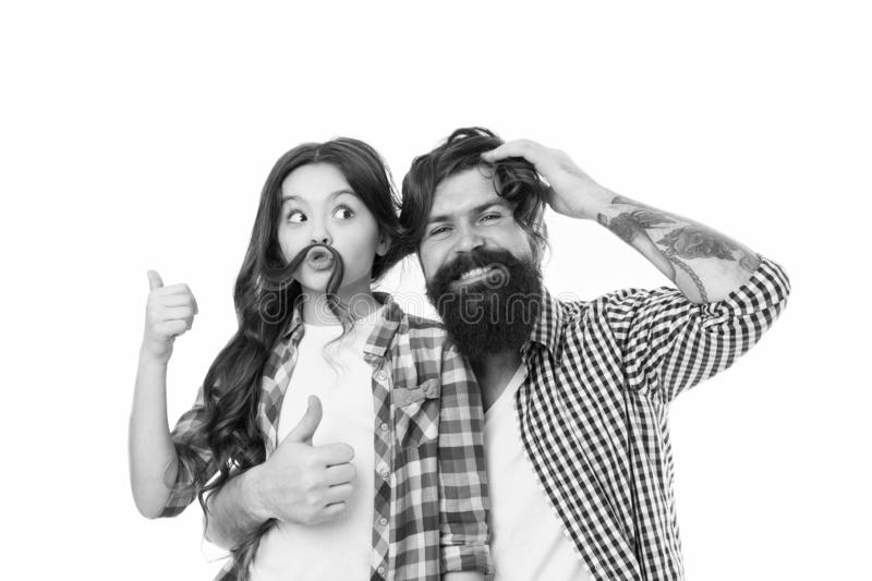 Father and kid. Little girl kid love father. Happy family, happy kid. Bearded man father with kid. Fathers cutie. Family stock photos