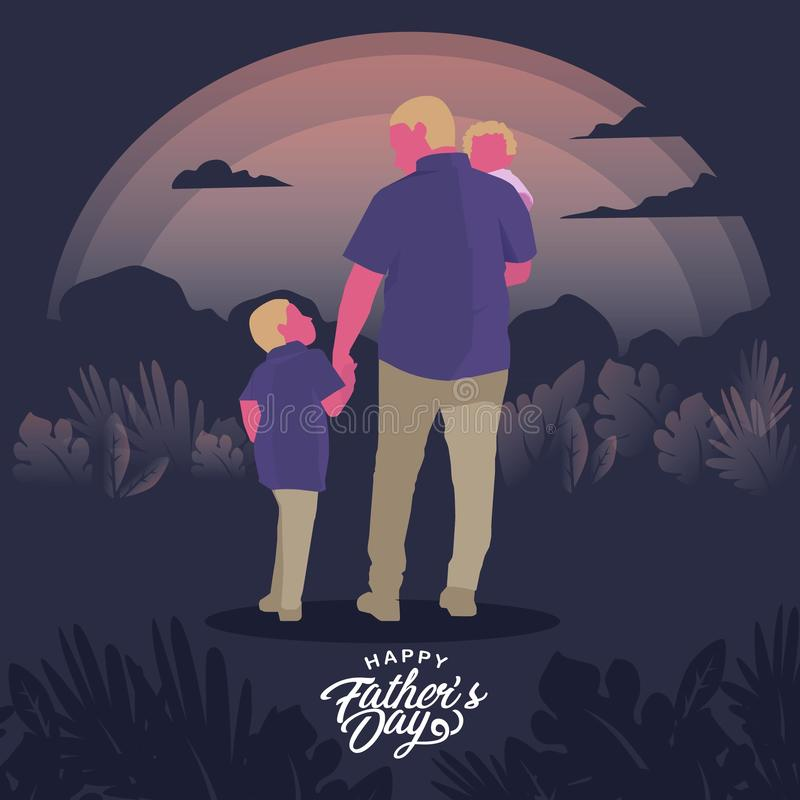 Father and Kids Illustration vector illustration