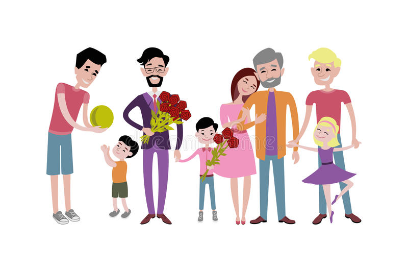 Download Father And Kids Together Character Vector. Stock Vector - Image: 83703597