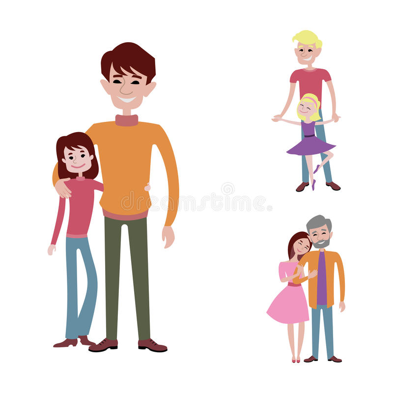 Download Father And Kids Together Character Vector. Stock Vector - Image: 83724193