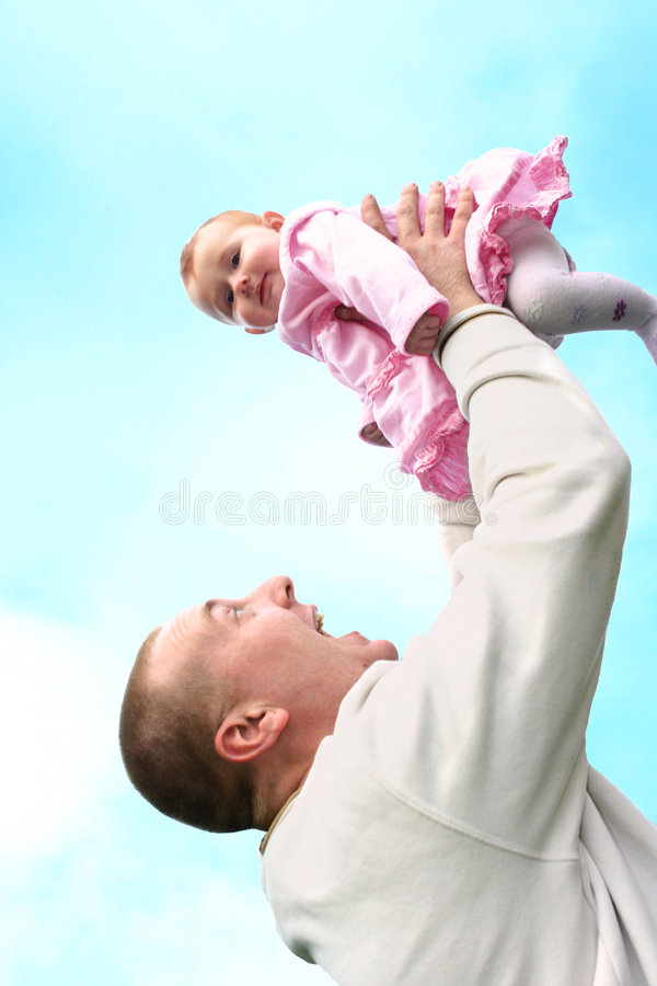 Download Father lifts his baby girl stock photo. Image of casual - 3581872