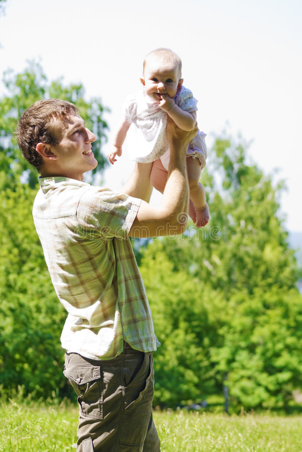 Father and little child stock photography