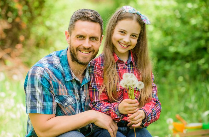 Father and little girl enjoy summertime. Dad and daughter blowing dandelion seeds. Keep allergies from ruining your life royalty free stock photography
