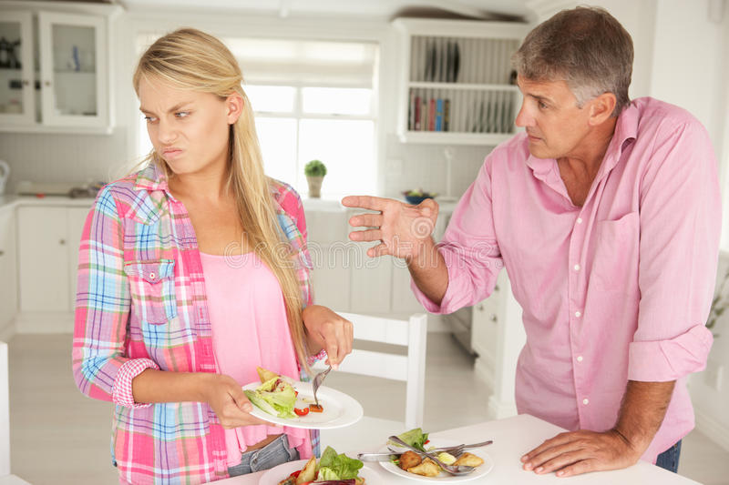 Download Father Making Teenage Daughter Do Chores Stock Image - Image: 21043109