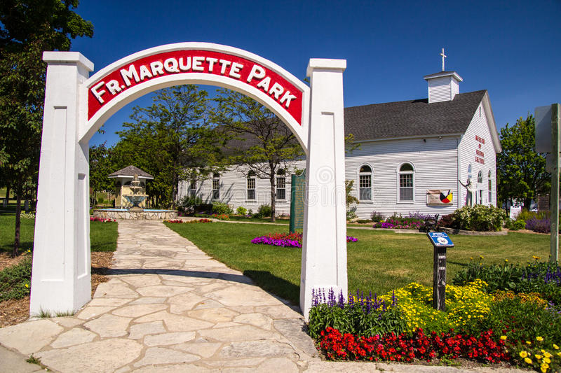 Father Marquette Park. St. Ignace, Michigan, USA- July 7, 2015. Father Marquette Park and the Ojibwa Museum are are located in downtown St. Ignace. The park is stock photo