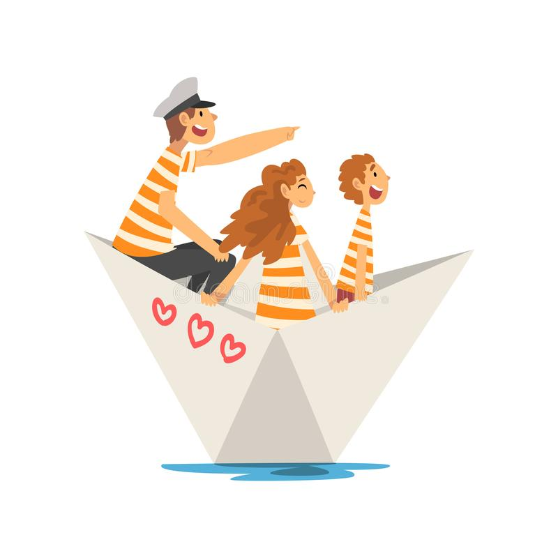 Free Father, Mother And Son In Orange White Striped T-Shirts Boating On River, Lake Or Pond, Family Paper Boat Vector Royalty Free Stock Photo - 150091975