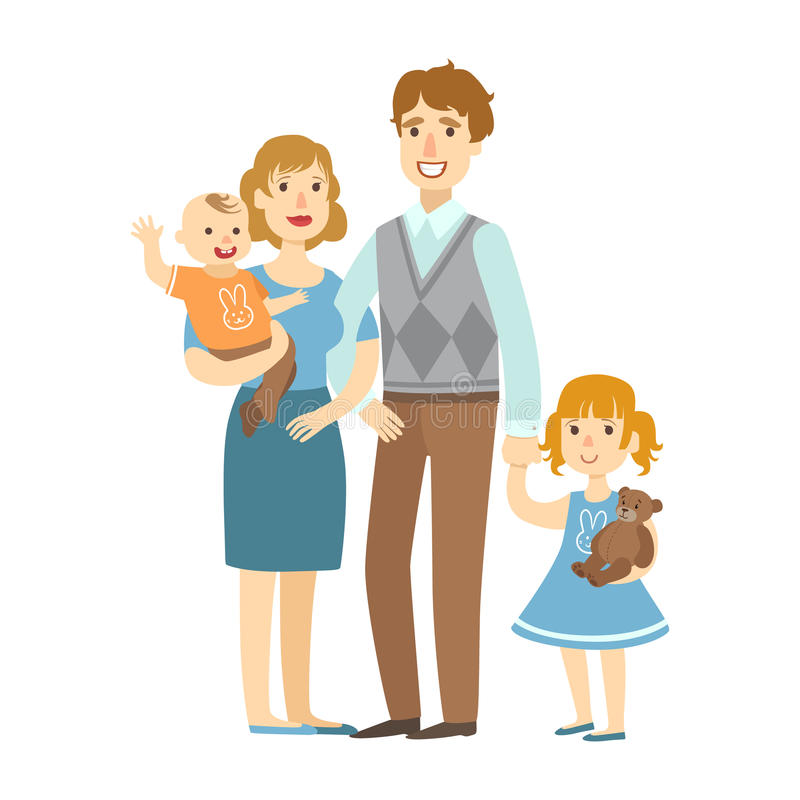 Father, Mother, Baby Boy And Little Daughter,, Illustration From Happy Loving Families Series stock illustration