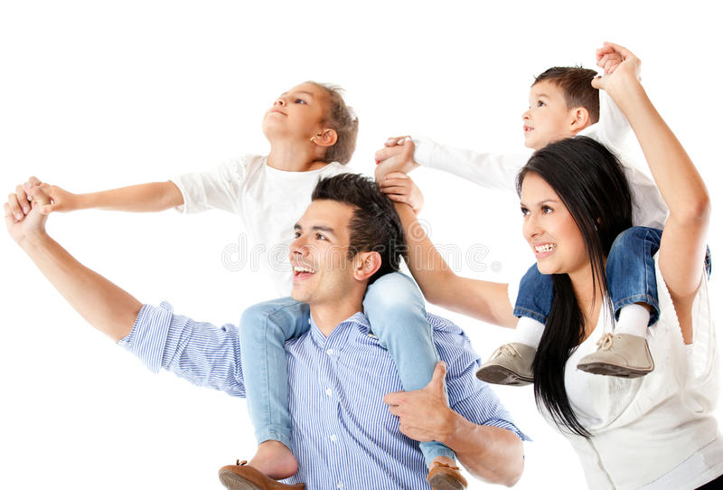 Download Father And Mother Carrying Children Stock Image - Image of bond, children: 23965137
