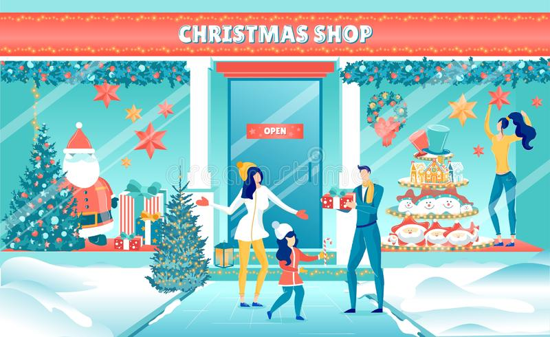 Father, Mother and Daughter at Christmas Shop. Happy Father, Mother and Daughter Standing on Street after Visiting at Christmas Shop. Shopping Gifts and Sweets stock illustration