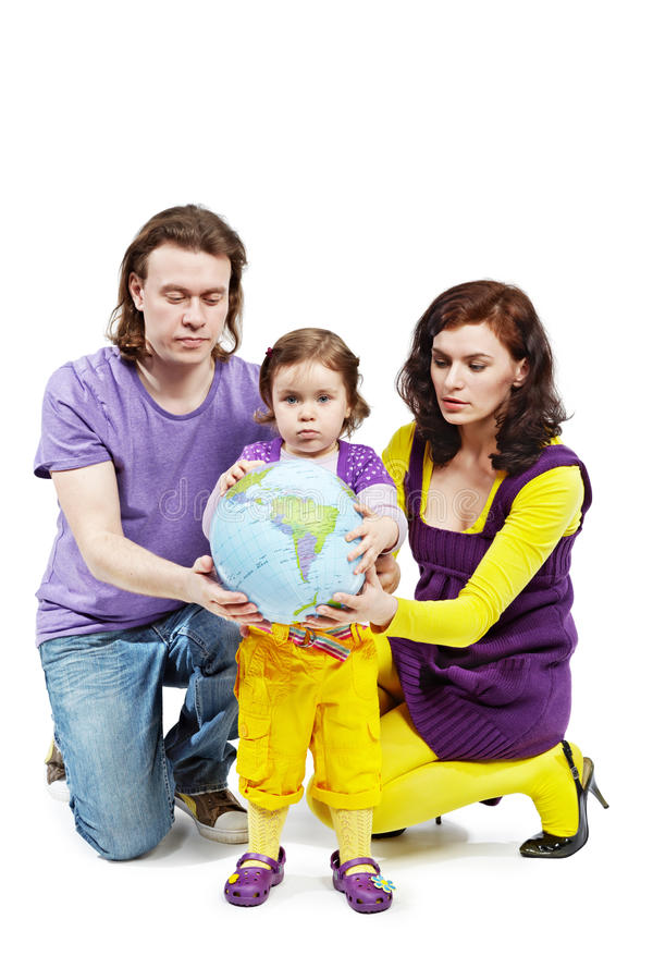 Download Father, Mother And Daughter Hold Ball-earth Stock Photo - Image: 20004920