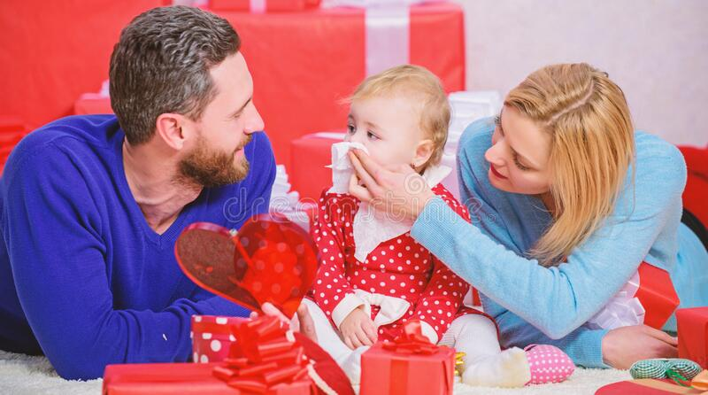 Father, mother and doughter child. Valentines day. Love and trust in family. Bearded man and woman with little girl stock photography
