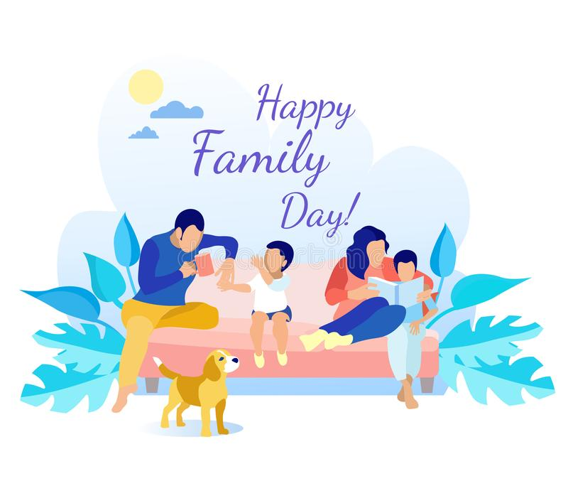 Father, Mother and Kids Rest on Sofa Greeting Card. Happy Family Day Greeting Card. Flat Cartoon Father, Mother and Kids Rest on Sofa. Dog Standing near. Dad stock illustration