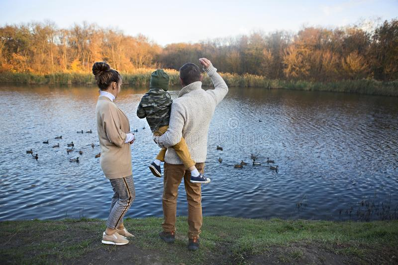 Father, mother and little son feeding ducks stock photos