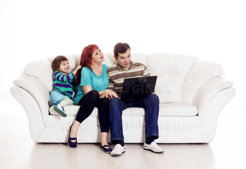 Father, mother and son with notebook stock photos