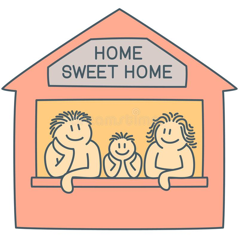 Father, mother and son on the window of house - line art vector graphics royalty free stock photo