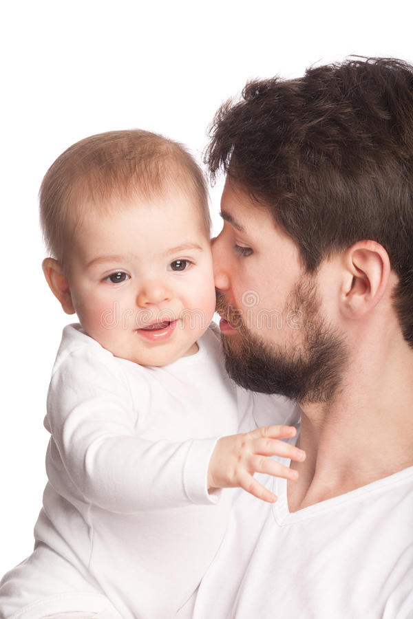 Father and offspring. On white stock photography