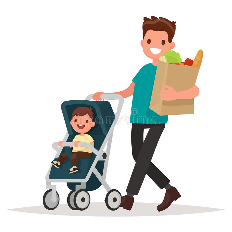 Father with a package of products and a toddler in the pram. Vector illustration in a flat style stock illustration