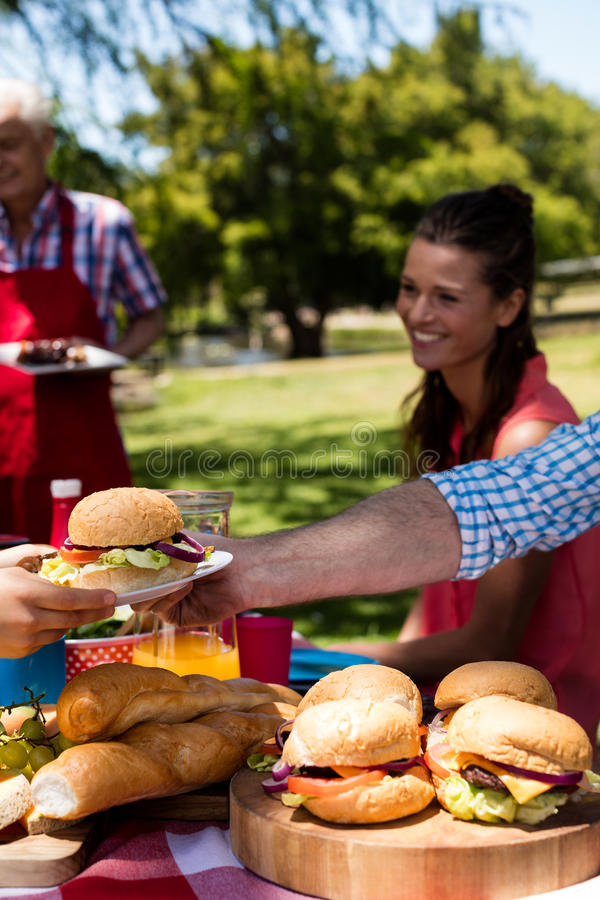 Father passing plate of burger to son in park stock photo