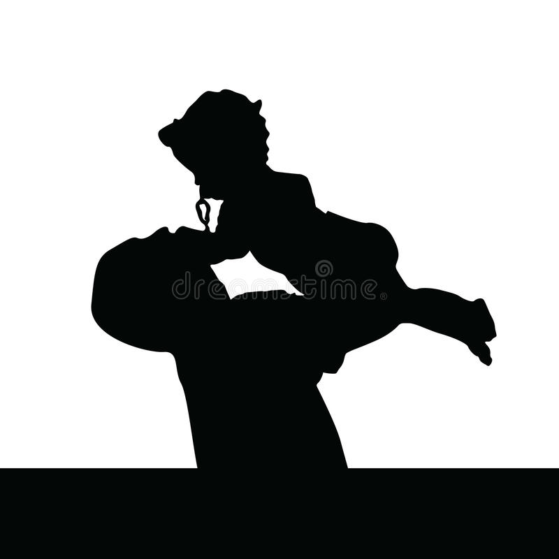 Father playing with daughter silhouette royalty free illustration
