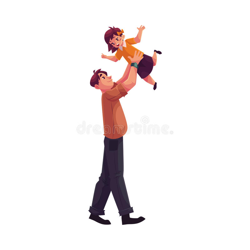 Father playing with daughter throwing her into air vector illustration