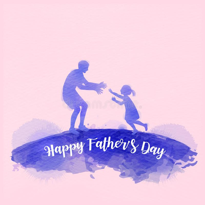 Father playing with his daughter silhouette plus abstract watercolor painted. Happy father`s day. Sport and recreation. Digital stock illustration