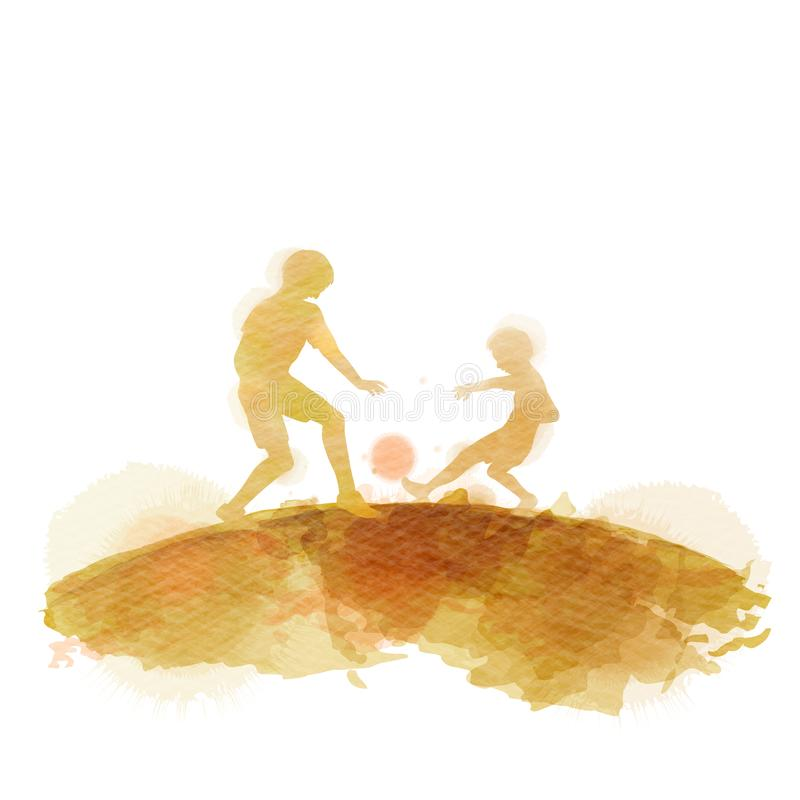 Father playing with his son silhouette plus abstract watercolor painted. Happy father`s day. Sport and recreation. Digital art royalty free illustration