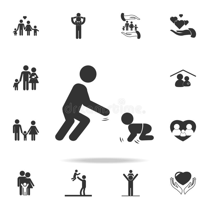 Father plays with the child. A man playing with a toddler icon. Detailed set of human body part icons. Premium quality graphic des. Ign. One of the collection stock illustration