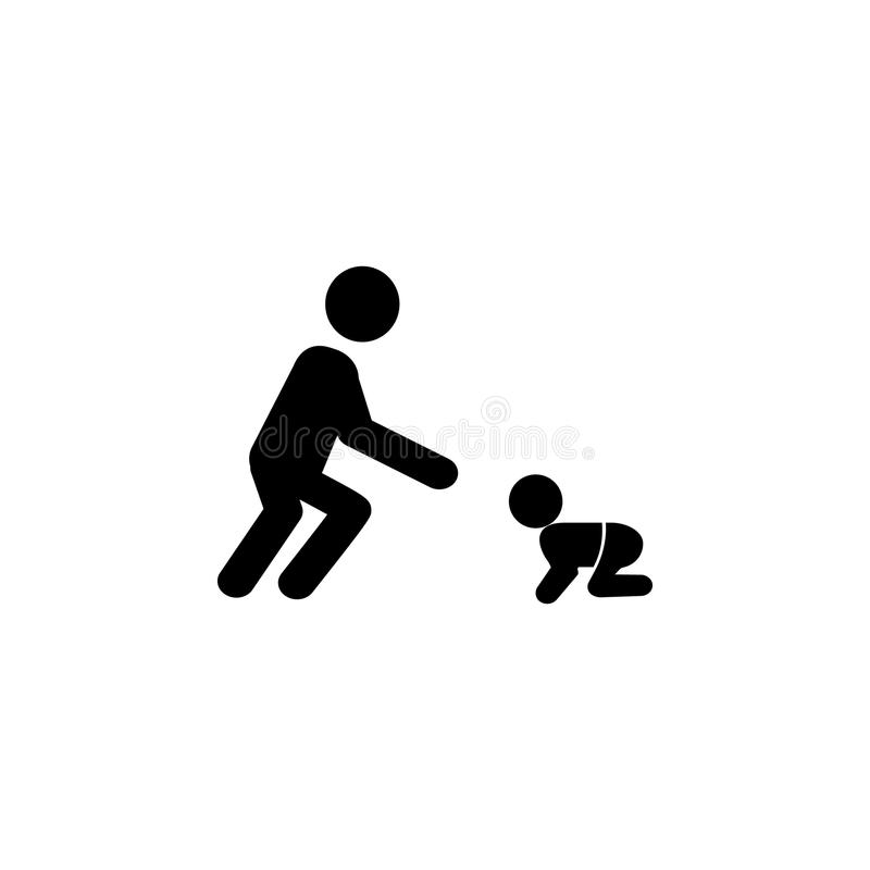 Father plays with the child. A man playing with a toddler icon. Simple black family icon. Can be used as web element, family desig. N icon on white background vector illustration