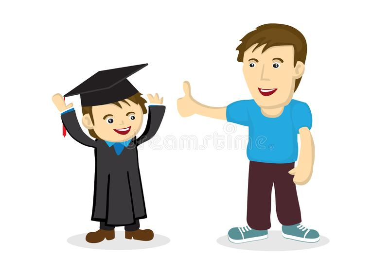 Father praise his child on his graduation day. Concept of celebration. Isolated vector illustration vector illustration