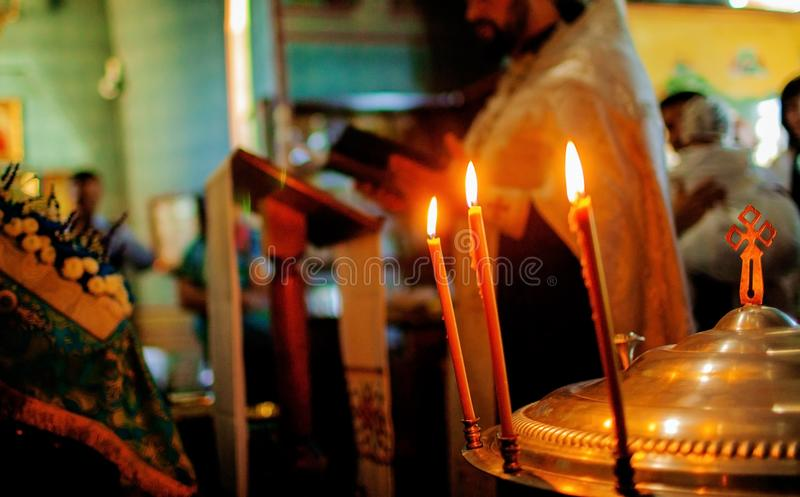 Father prayer in the Christian church, the concept of religion, spirituality and faith. stock images