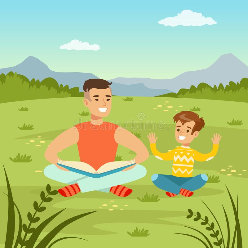 Father reading a book to his son on nature background, family leisure flat vector illustration. Web banner royalty free illustration