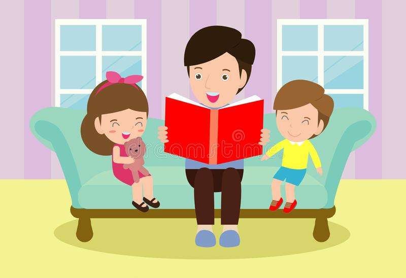 Father reading fairy tales to his son and daughter, family, reading and telling book fairy tale story stock illustration
