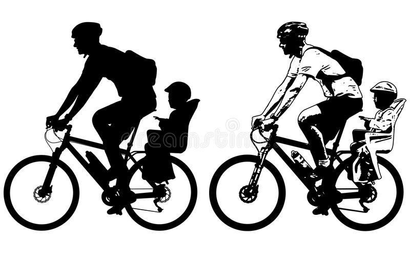 Father riding a toddler in bicycle baby seat silhouette and sketch. Vector stock illustration