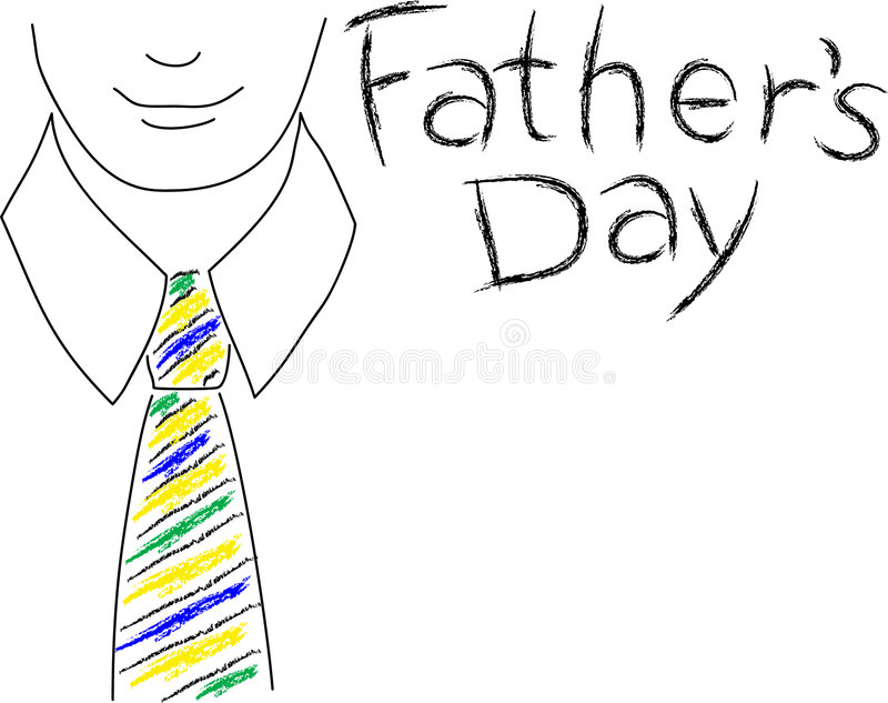 Father's Day. Illustration of a man wearing a colorful striped tie with the headline Father's Day