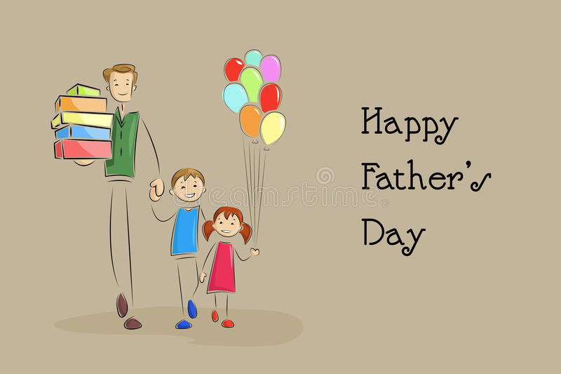 Father's Day Background with father and kids royalty free illustration