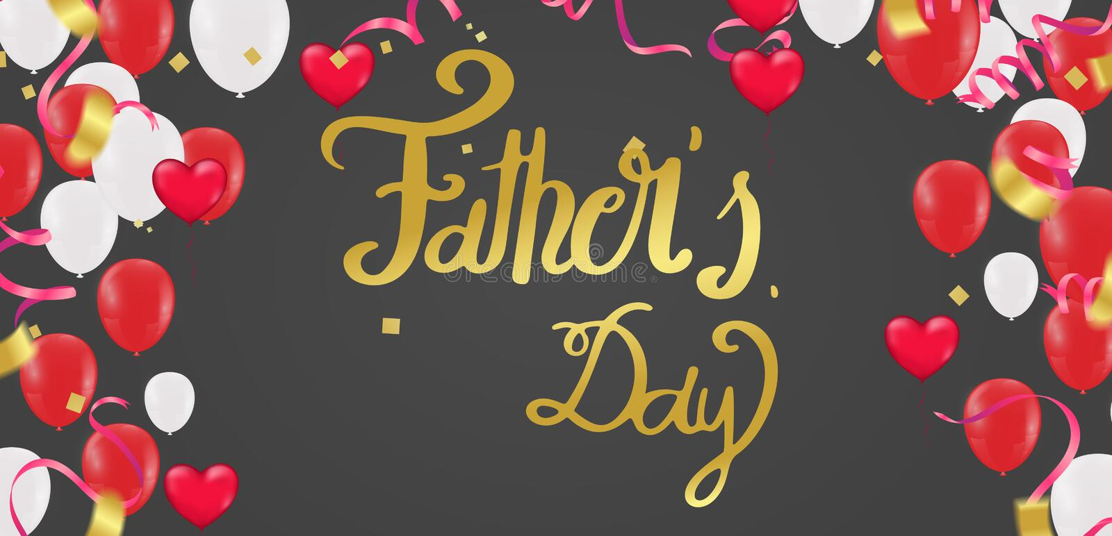 Father`s day background, Happy Day Typography for greeting card, festive poster etc. Hand lettering illustration on  background vector illustration