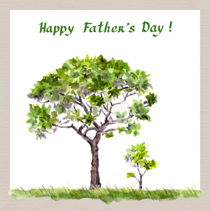 Father's day - big tree father, small sprout child. Watercolor royalty free stock photo