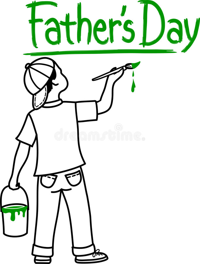 Father's Day Boy. Illustration of a boy painting the words Father's Day in green paint