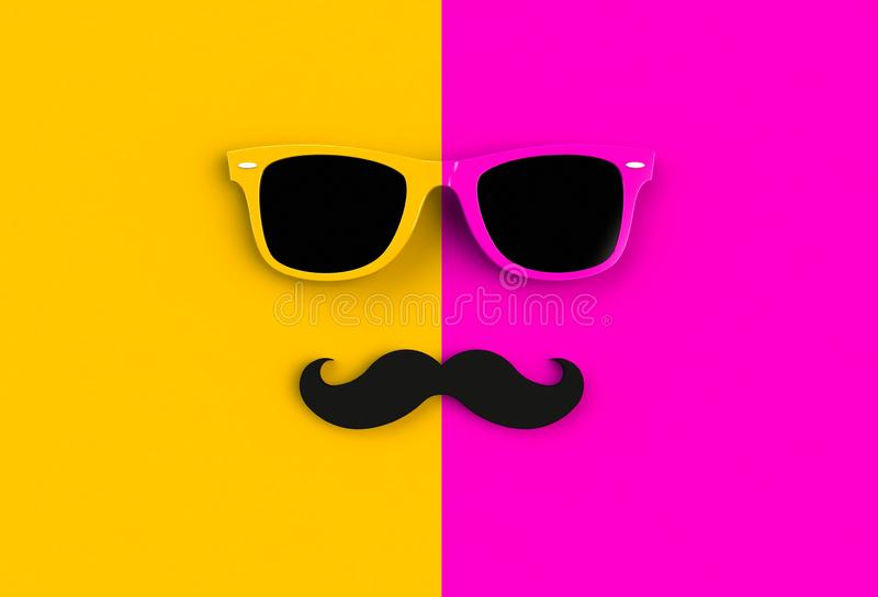 Father`s day concept. Hipster sunglasses and funny moustache on yellow and pink background. 3D rendering royalty free illustration