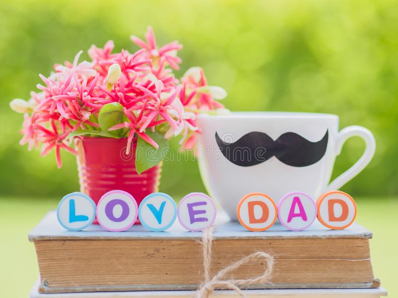 Father`s day concept. LOVE DAD alphabet royalty free stock photos