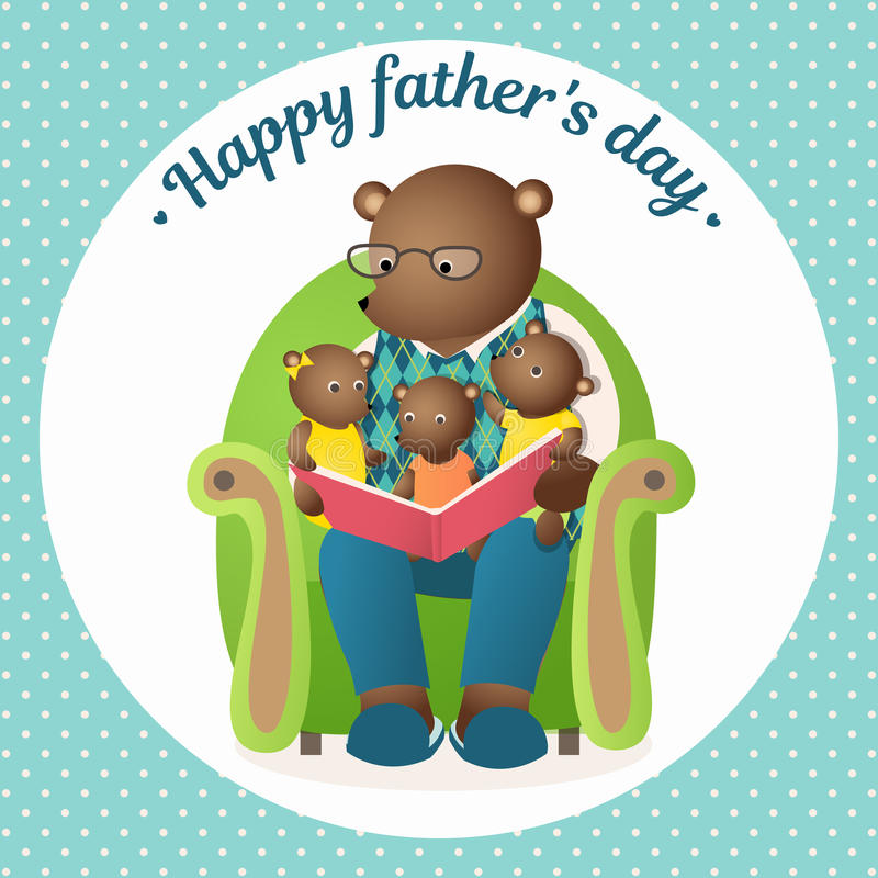 Father`s Day. Daddy Bear is reading a book to the cubs. Family greeting card. Father`s Day. Vector Illustration for the holiday. Daddy Bear is reading a book to royalty free illustration