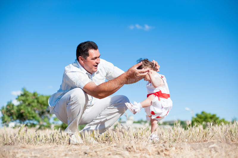 Fathers Day, Father, Daughter, Man, Girl, Baby, Walk, Train, Play, Love Stock Image -8339