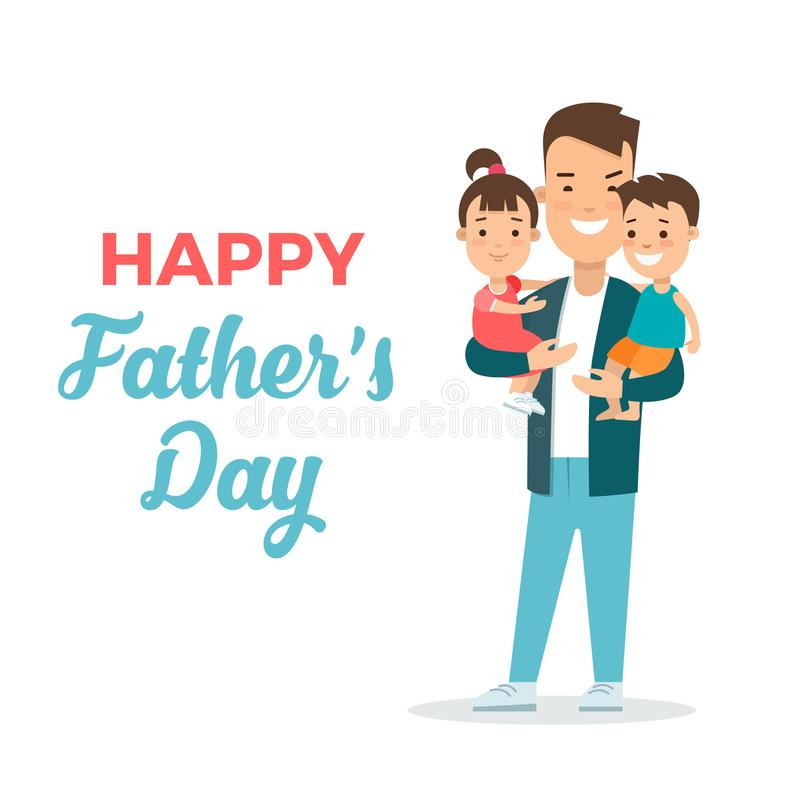 Father`s day flat illustration. Father chil. Happy Father`s day greeting card flat illustration. Dad with children: son and daughter. Father parenting character vector illustration