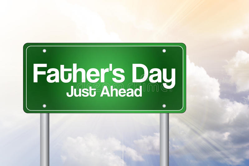 Father's Day Green Road Sign Stock Illustration ...