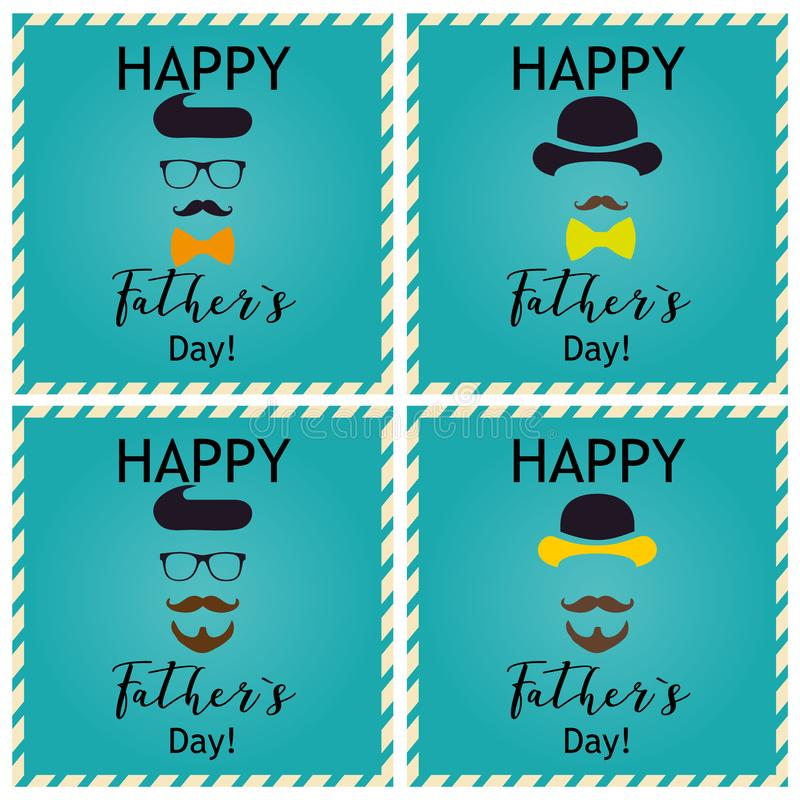 Father`s day greeting. Set of greeting cards. Vector Illustrations/ stock photo