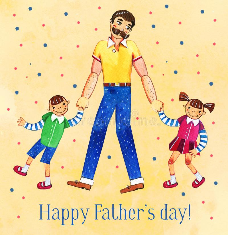 Father`s day hand drawn watercolor illustration with father and two kids walking together. On yellow dotted textured background stock illustration