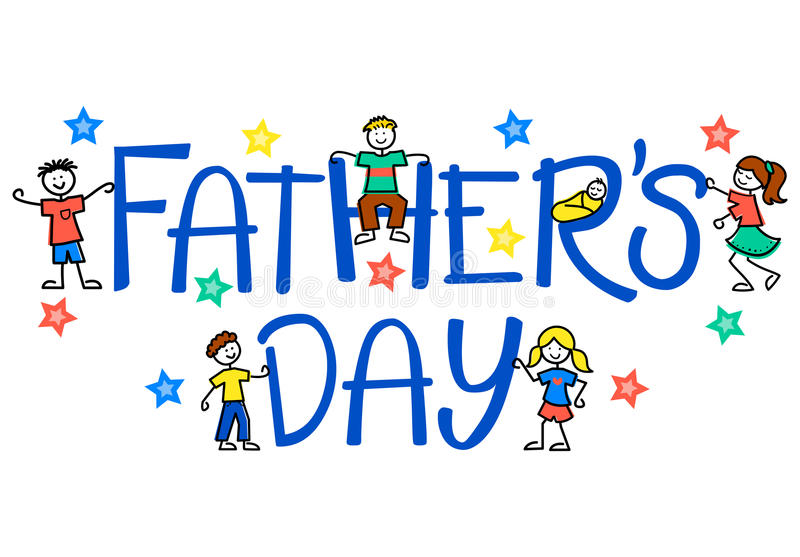 Father's Day Kids/eps. Father's day headline with children and stars