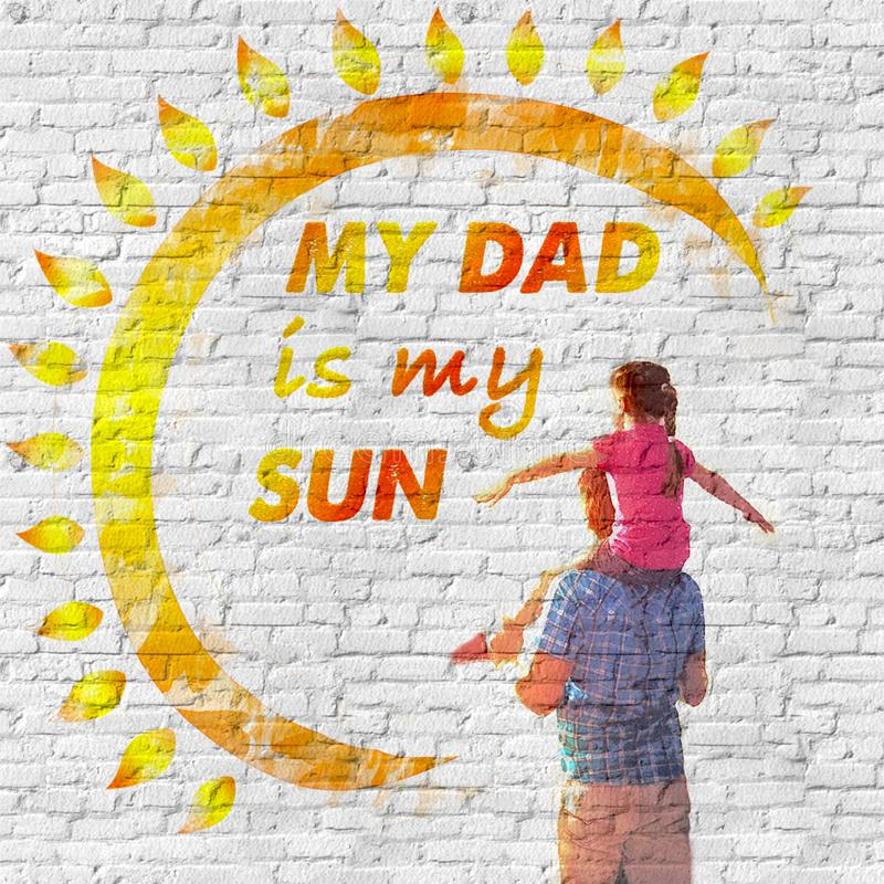 Father`s day. A love message on the wall stock photos