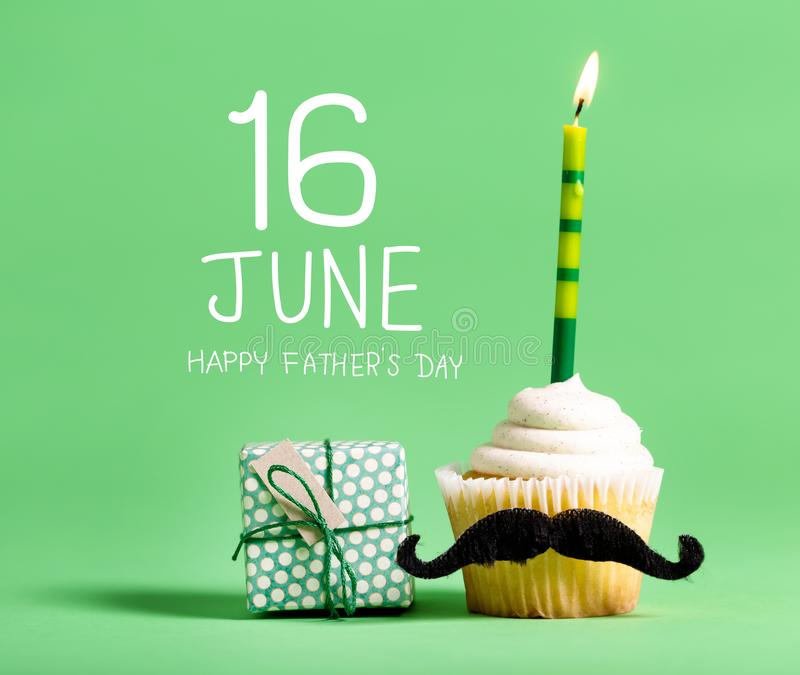 Father`s Day message with cupcake stock images