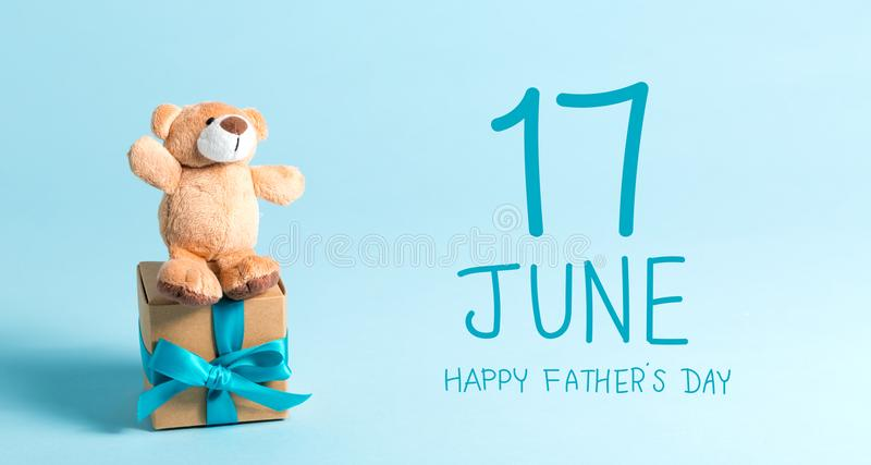 Father`s day message with teddy bear royalty free stock images